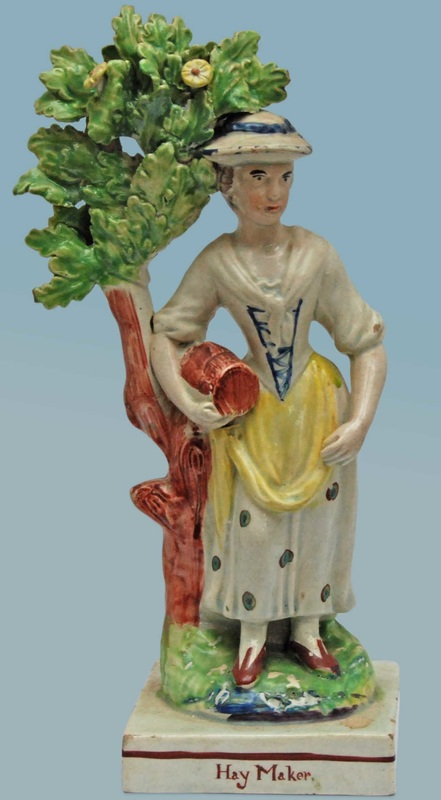 antique Staffordshire pottery figure, pearlware figure, Ralph Wood, mower, hay maker, Myrna Schkolne