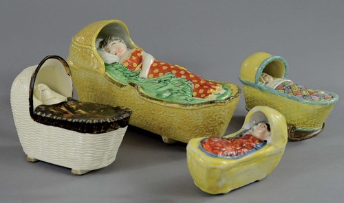 Staffordshire figure pottery, Myrna Schkolne, pearlware figure, creamware, bocage figure, antique Staffordshire pottery, cradle, baby in cradle, William Herbert Hunt, Nancy Hunt, Hunt Collection of pottery