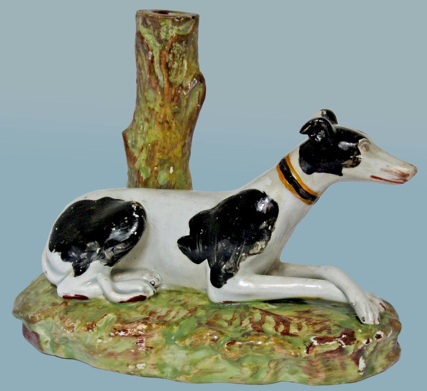 Staffordshire figure, pearlware figure, Staffordshire, bocage, pearlware, creamware, Myrna Schkolne, dog, pointer, Enoch WOod