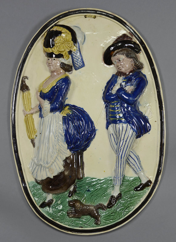 Ralph Wood plaque, antique English pottery, running glazes, colored glazes, Patrician and her Lover, Jack on a Cruise, pearlware plaque, Ralph  Wood, Myrna Schkolne