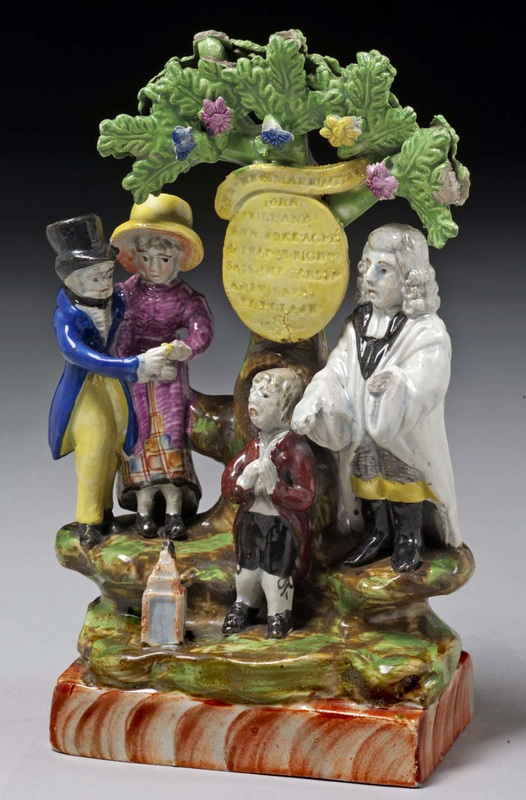 Staffordshire figure, pearlware figure, Staffordshire, pearlware, bocage, Myrna Schkolne, Staffordshire Figures 1780-1840, New Marriage Act, wedding, bocage