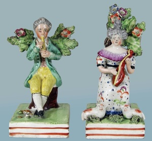antique Staffordshire pottery figures pearlware Obadiah  Sherratt