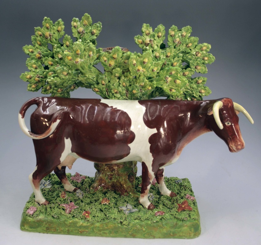 Staffordshire figure, pearlware figure, Staffordshire, bocage, pearlware, creamware, Myrna Schkolne, cow, Enoch Wood, Wood & Caldwell