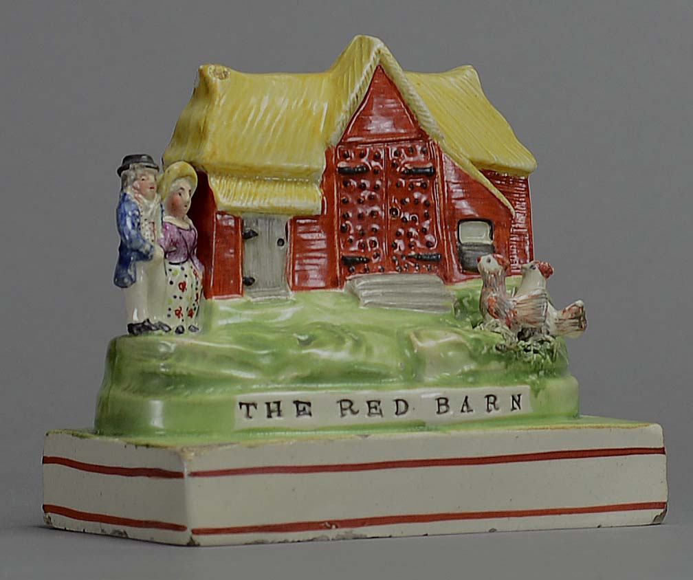 antique Staffordshire pottery, Red Barn, Red Barn Murder, William Corder, Maria Marten, pearlware, Sherratt
