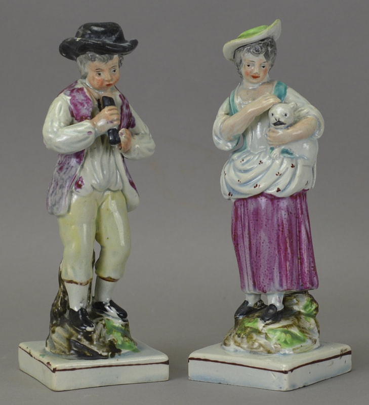 antique Staffordshire figure, antique Staffordshire pottery, Sherratt, Ralph Wood, Myrna Schkolne