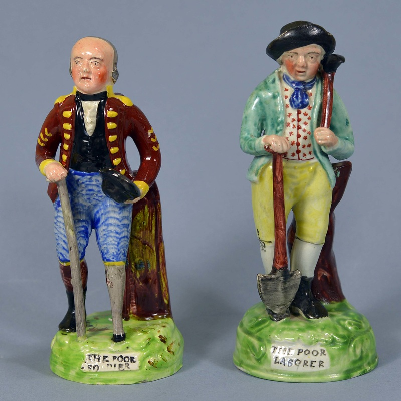 Staffordshire figure, pearlware figure, Staffordshire, pearlware, bocage, Myrna Schkolne, Staffordshire Figures 1780-1840, The Poor Soldier, The Poor Laborer