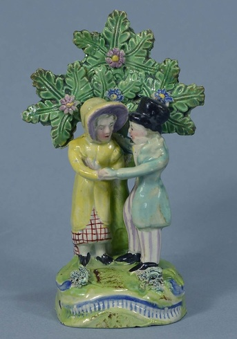 Staffordshire figure, pearlware figure, Staffordshire, pearlware, bocage, Myrna Schkolne, Staffordshire Figures 1780-1840, New Marriage Act, wedding, bocage, dandies