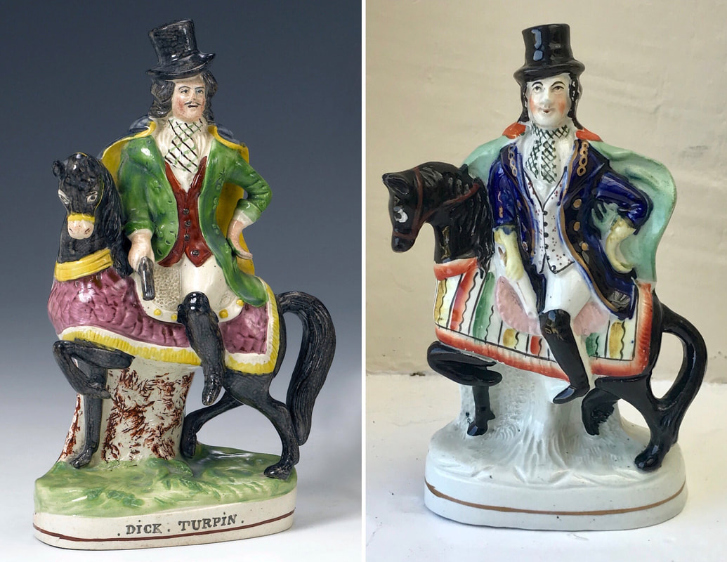 early Staffordshire figure, antique Staffordshire pottery, Staffordshire figure, Myrna Schkolne, Dick Turpin