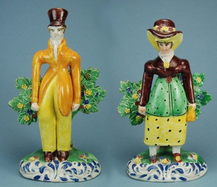 pearlware figure, early Staffordshire figure, bocage, Myrna Schkolne, dandies, dandy, dandizette
