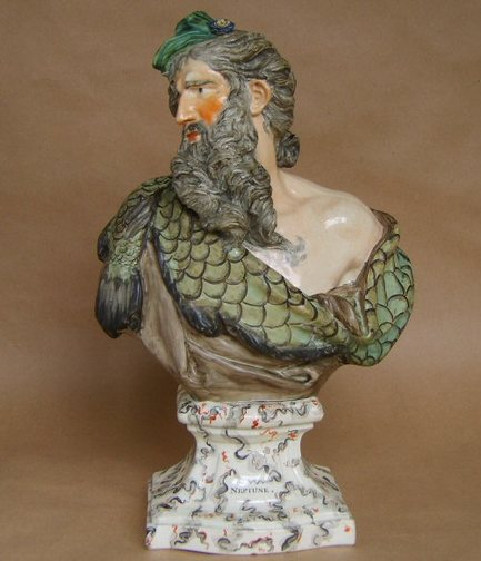 Antique Staffordshire pottery bust, pearlware bust, antique Staffordshire pottery, antique Staffordshire figure, Ralph Wood