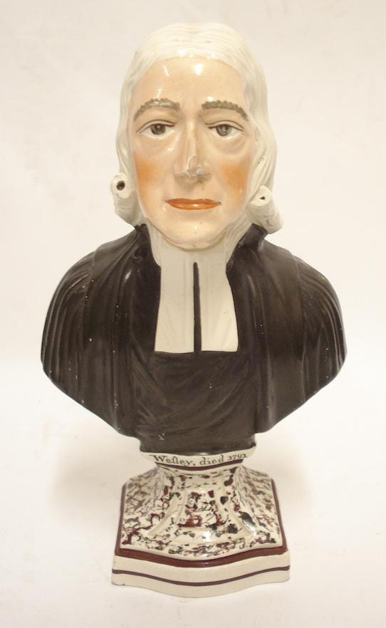 antique Staffordshire pottery, antique Staffordshire figure, antique Staffordshire bust, Rev. John Wesley, pearlware bust, Rev. John Wesley, Myrna Schkolne