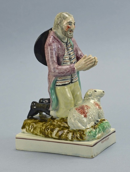 Staffordshire pottery figure, antique Staffordshire, pearlware, Ralph Wood, Myrna Schkolne, Worshiper