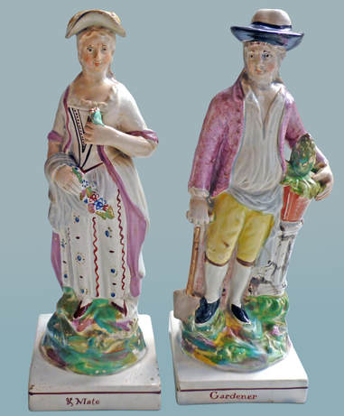 early Staffordshire figure, antique Staffordshire pottery, Staffordshire figure, Myrna Schkolne, Ralph Wood, gardeners
