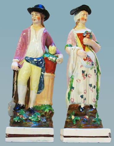 early Staffordshire figure, antique Staffordshire pottery, Staffordshire figure, Myrna Schkolne, Dudson, gardener, mate