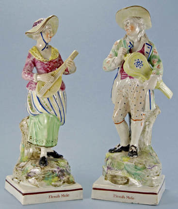 antique Staffordshire pottery, antique Staffordshire figure, pearlware, Flemish Music, Ralph Wood, Myrna Schkolne