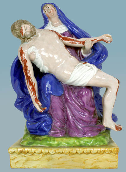 antique Staffordshire figure, Enoch Wood, religious Staffordshire figure, Staffordshire for Portugal, antique Staffordshire pottery, pearlware figure, Myrna Schkolne, Pieta, Mary, Crucifixion, Jesus