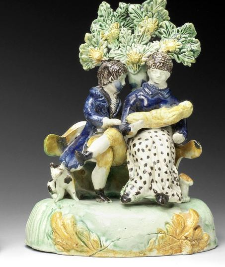 early Staffordshire figure, antique Staffordshire pottery, Staffordshire figure, Myrna Schkolne,  Tittensor, family group