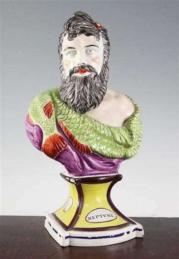 antique Staffordshire bust Neptune, antique Staffordshire pottery, antique Staffordshire figure