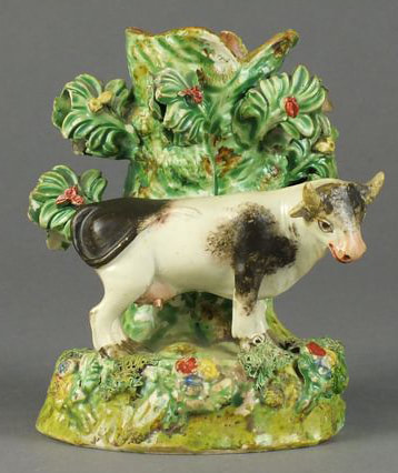 antique Staffordshire figure, antique Staffordshire pottery, Sherratt, Obadiah Sherratt, cow, Myrna Schkolne