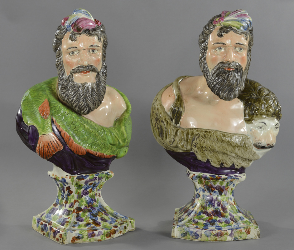Antique Staffordshire pottery Neptune, antique Staffordshire pottery, antique Staffordshire figure, Myrna Schkolne, William Herbert and Nancy Hunt Collection