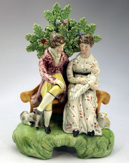 early Staffordshire figure, antique Staffordshire pottery, Staffordshire figure, Myrna Schkolne, Patriotic Group