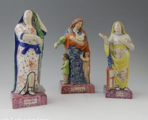 antique Staffordshire pottery, antique Staffordshire figure, pearlware figure, Faith, Hope, Charity, Myrna Schkolne