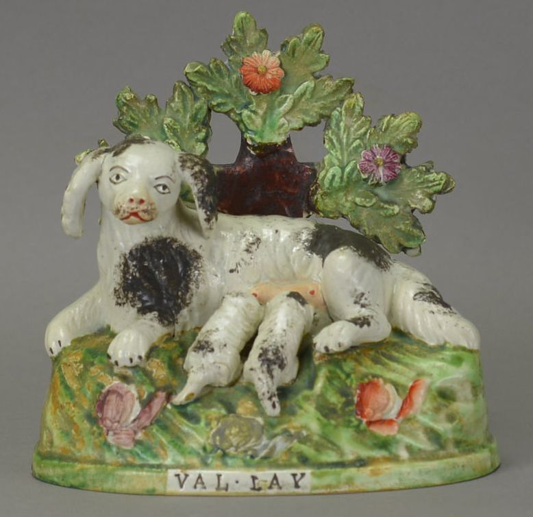 antique Staffordshire figure, antique Staffordshire pottery, Sherratt, Obadiah Sherratt, dog, Myrna Schkolne