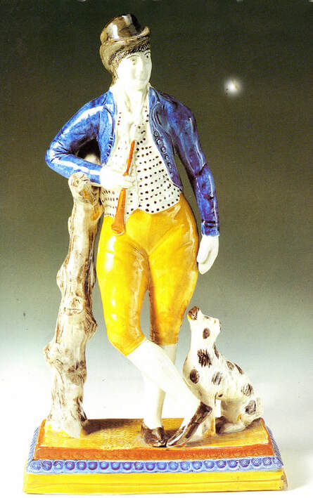 antique Staffordshire, antique Staffordshire figure, pearlware figure, pratt ware, pottery figure, sportsman, dog, Myrna Schkolne