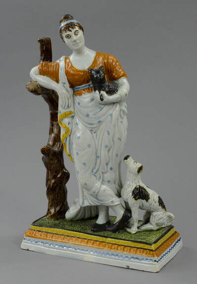 antique Staffordshire, antique Staffordshire figure, pearlware figure, pratt ware, classical figure, dog, cat, theatrical figure, Myrna Schkolne