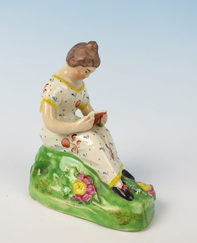 antique Staffordshire pottery, pearlware figure, antique English pottery, John Dale, reading, Myrna Schkolne
