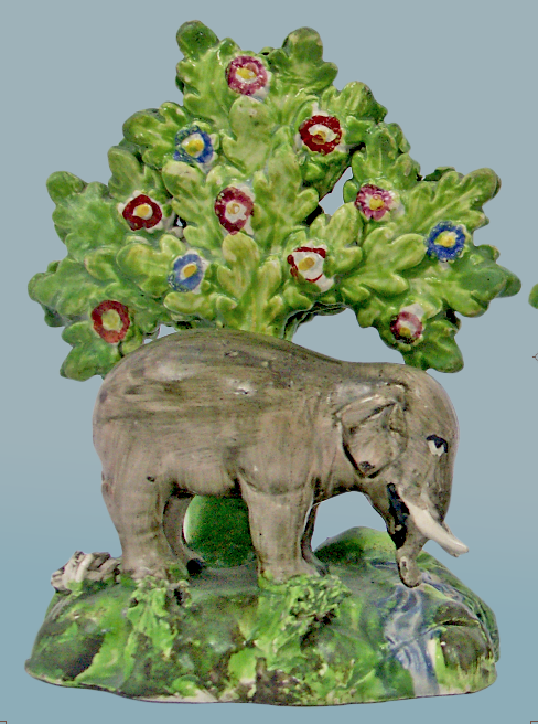 antiques Staffordshire figure, antique Staffordshire pottery, pearlware, bocage, Myrna Schkolne, elephant, Enoch Wood
