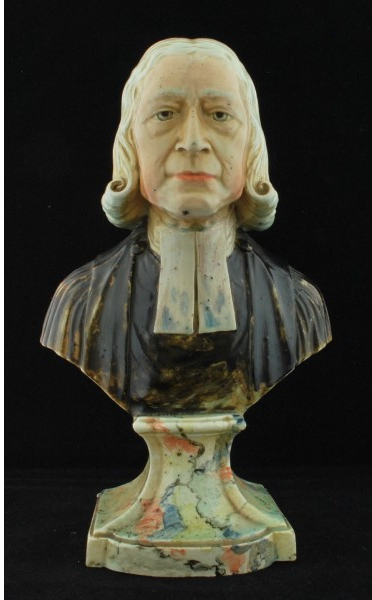 antique Staffordshire pottery, antique Staffordshire figure, antique Staffordshire bust, Rev. John Wesley, pearlware bust, Rev. John Wesley